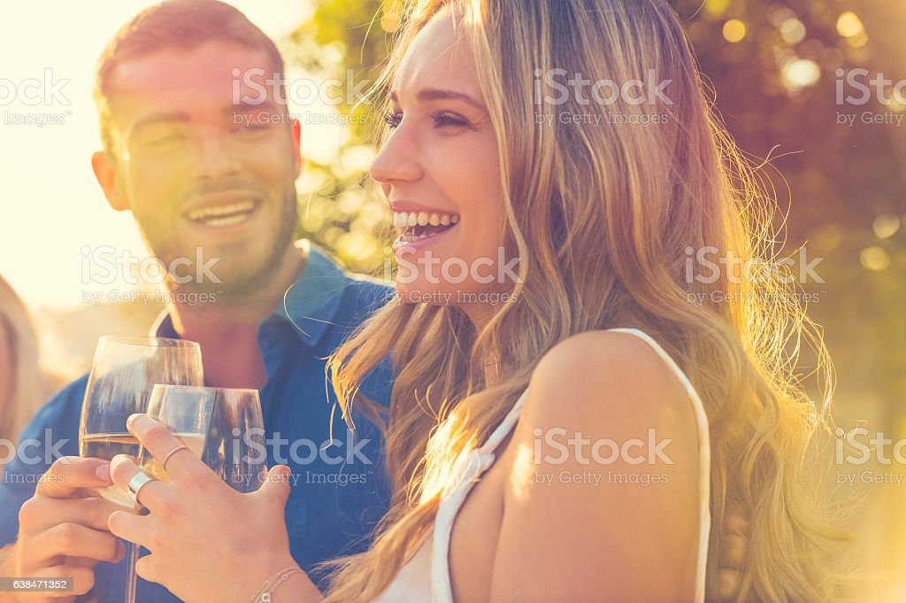 Couple on a date at as restaurant. stock photo