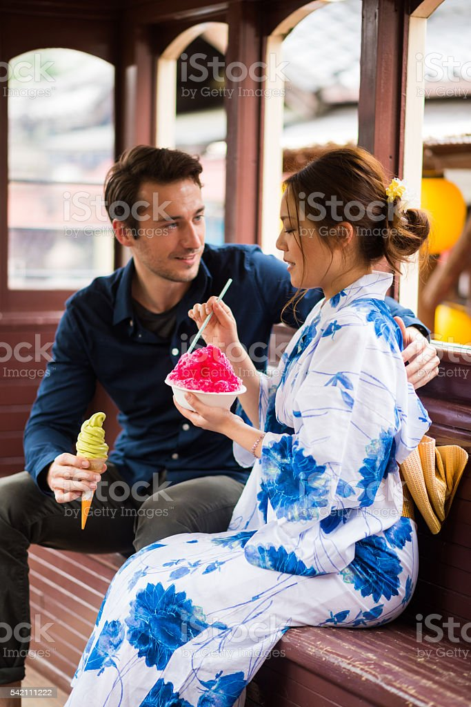 Couple on a date in Japan stock photo