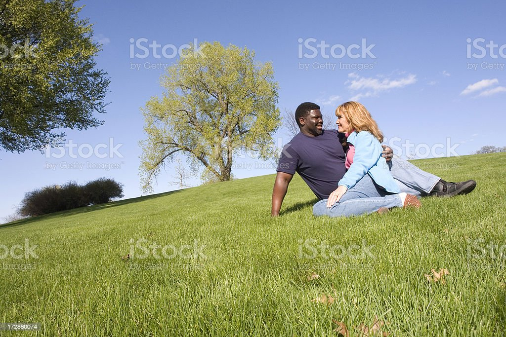 Couple on a hill royalty-free stock photo
