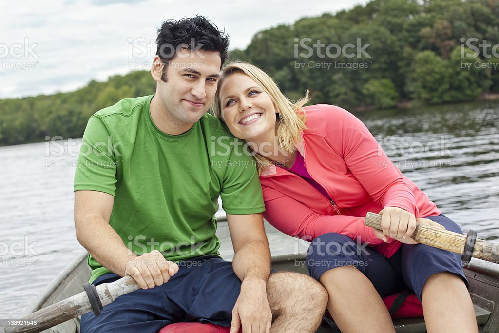 Couple on a Lake royalty-free stock photo