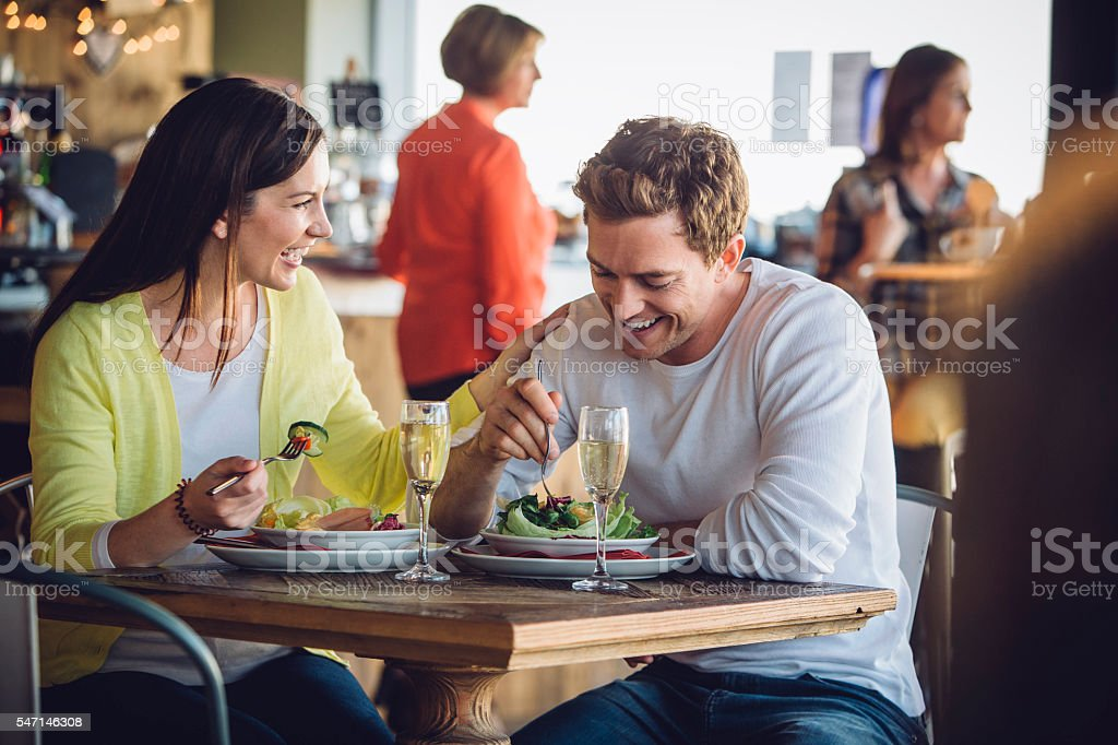 Couple on a luch date stock photo