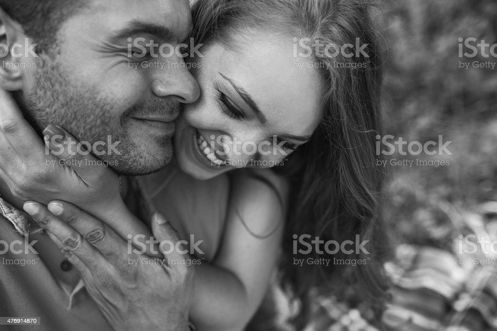 Couple on a picnik stock photo