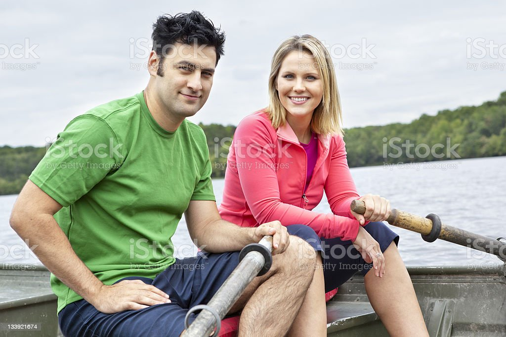 Couple on a Rowboat royalty-free stock photo