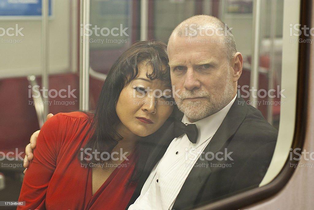 Couple on a Sub Way stock photo