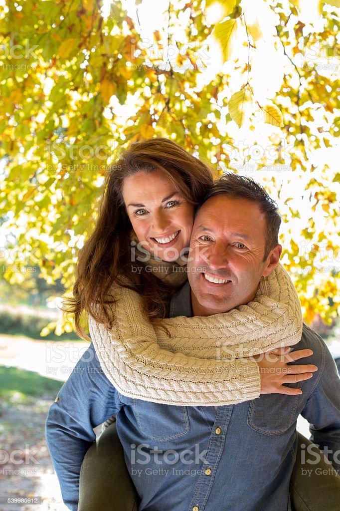 Couple on a Sunny Autumn Day stock photo
