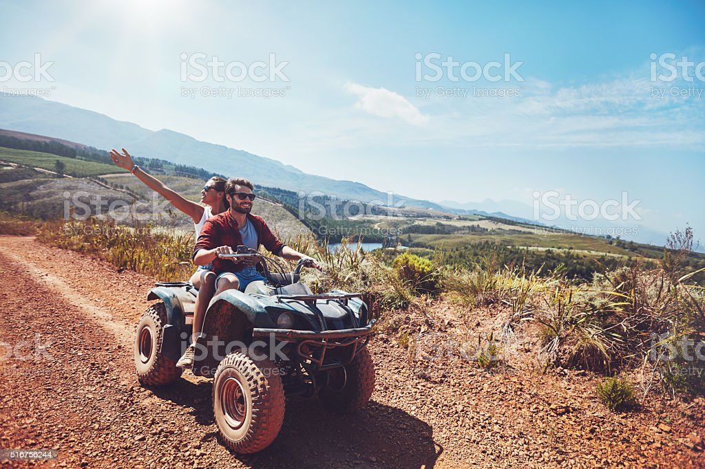 Couple on an off road adventure stock photo