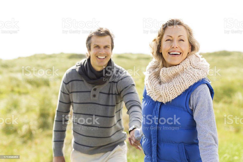 Couple On an Open Landscape stock photo