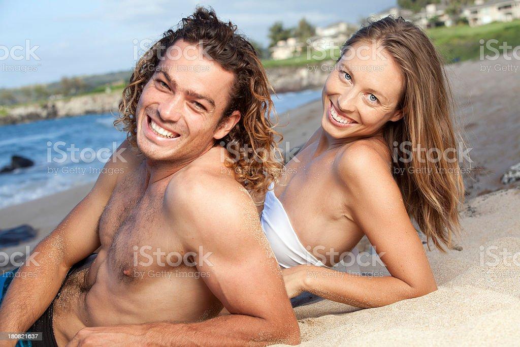 Couple on Beach in Hawaii royalty-free stock photo