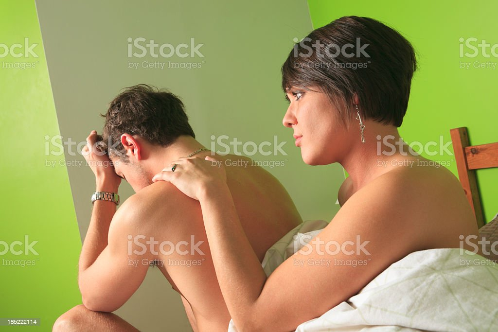 Couple on Bed - Distress stock photo
