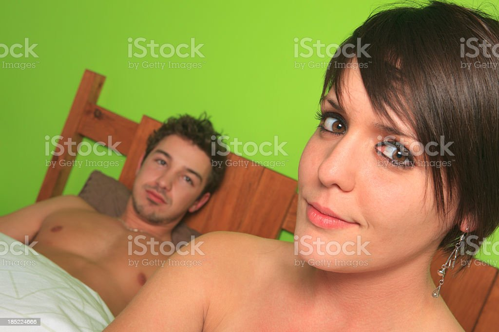 Couple on Bed royalty-free stock photo