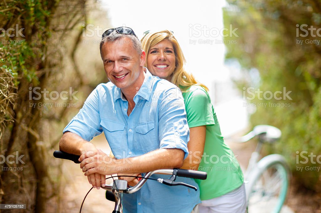 Couple on Bikes stock photo