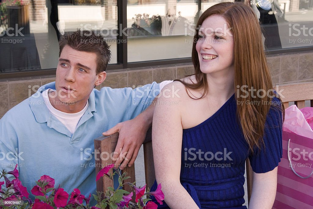 Couple on Break from Shopping royalty-free stock photo