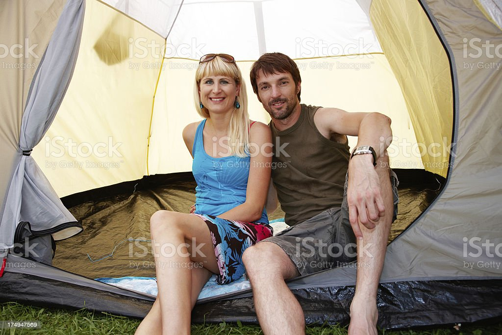 Couple on camping holiday royalty-free stock photo