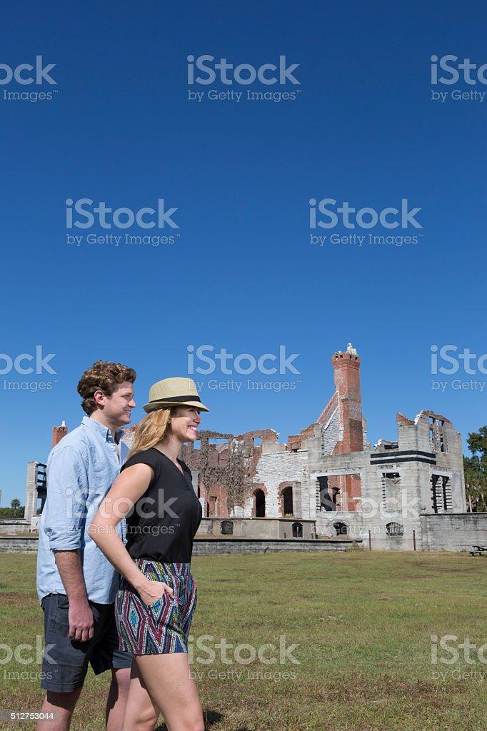 Couple on Cumberland Island stock photo