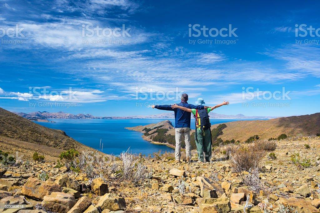 Couple on Island of the Sun, Titicaca Lake, Bolivia stock photo