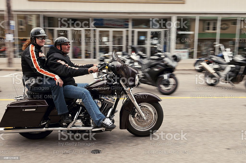 Couple on Motorcycle stock photo