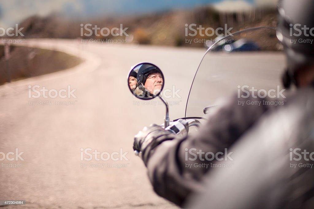 Couple on motorcycles stock photo