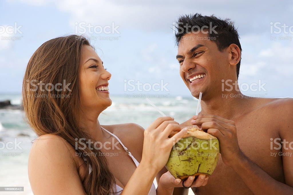 Couple on North Shore, Hawaii royalty-free stock photo