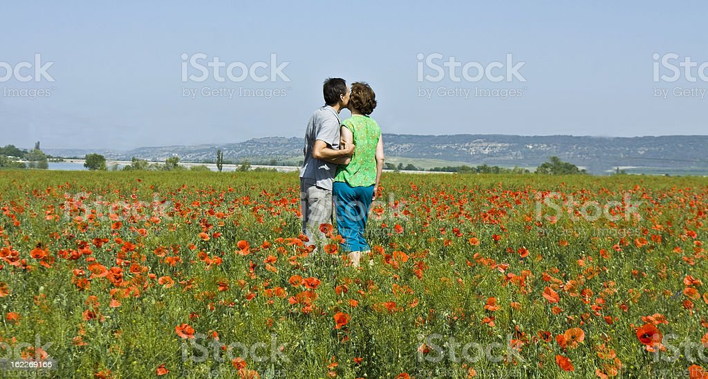 Couple on poppie's meadow royalty-free stock photo