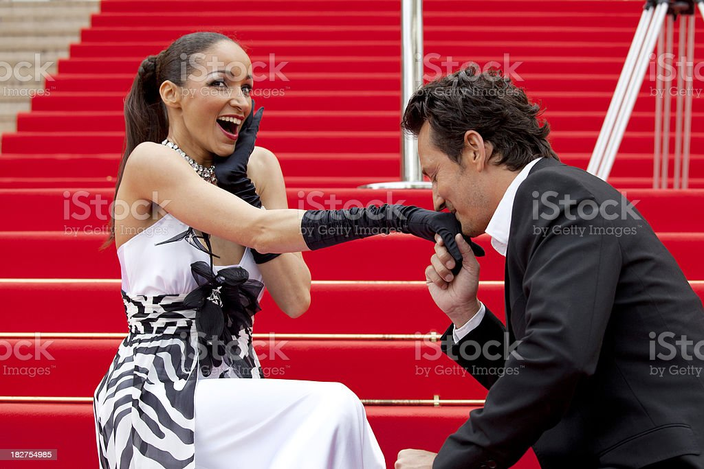 Couple on red carpet royalty-free stock photo