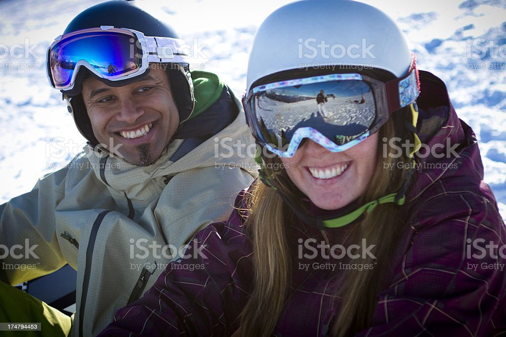 Couple on snowboarding vacation. royalty-free stock photo