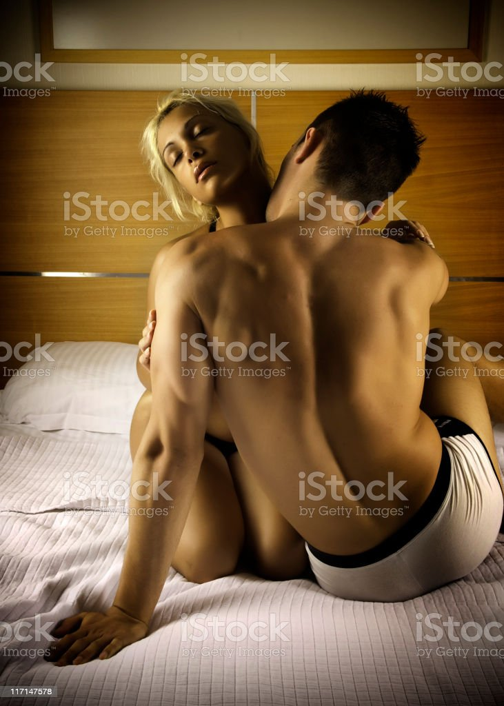 Couple on the bed royalty-free stock photo