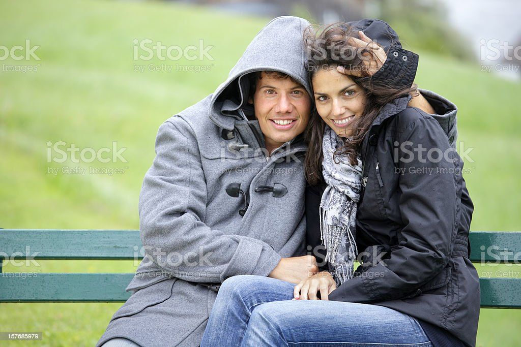 Couple on the bench royalty-free stock photo