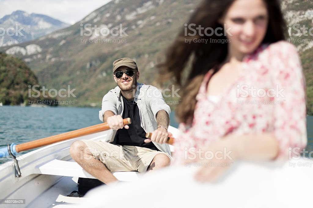 Couple on the boat enjoying holidays royalty-free stock photo