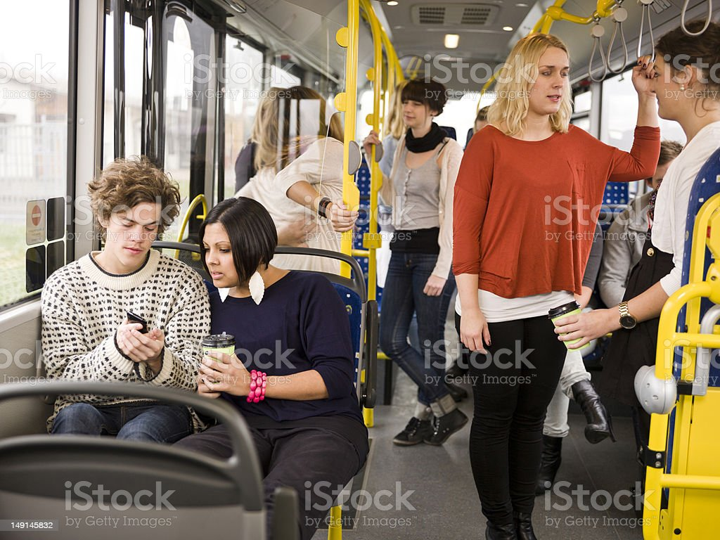 Couple on the bus royalty-free stock photo
