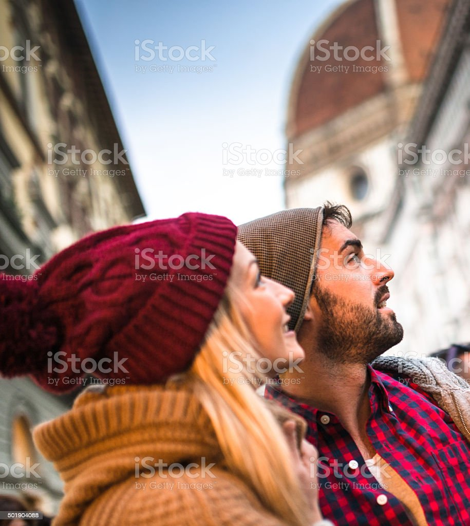 couple on the city of Florence for christmas stock photo