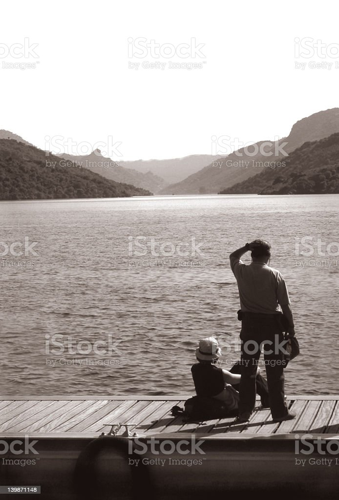 Couple on the dock royalty-free stock photo