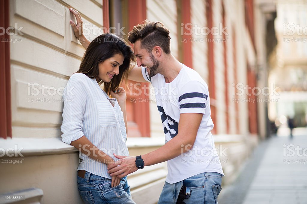 Couple on their first date stock photo