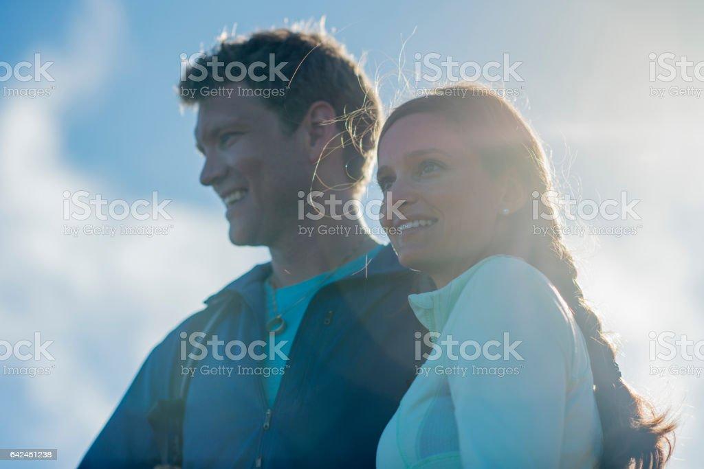 Couple on Their Honeymoon stock photo