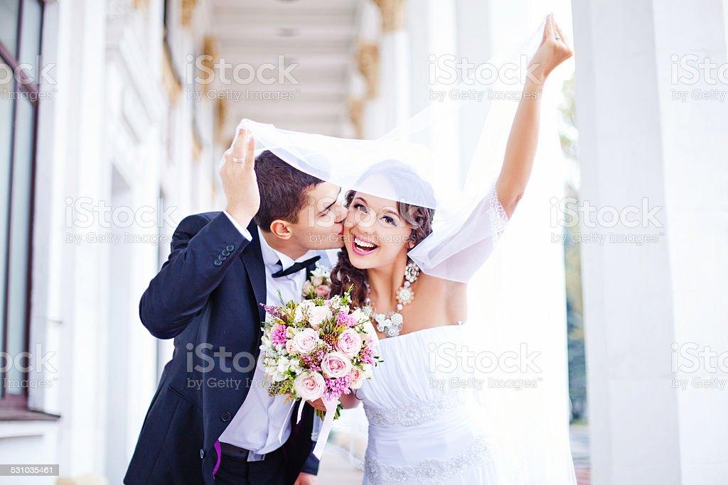 Couple on their wedding day stock photo
