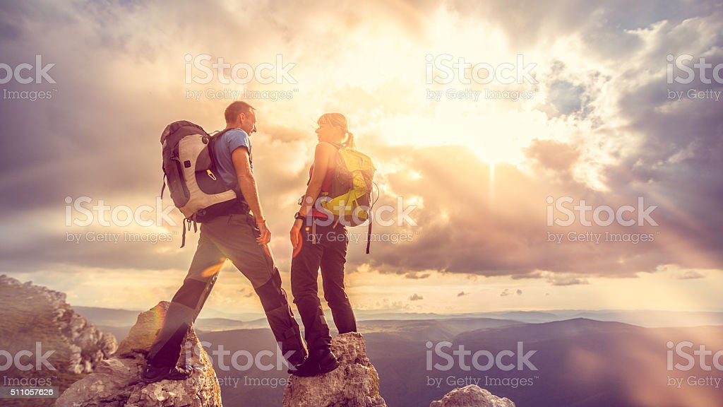 Couple on Top of a Mountain stock photo