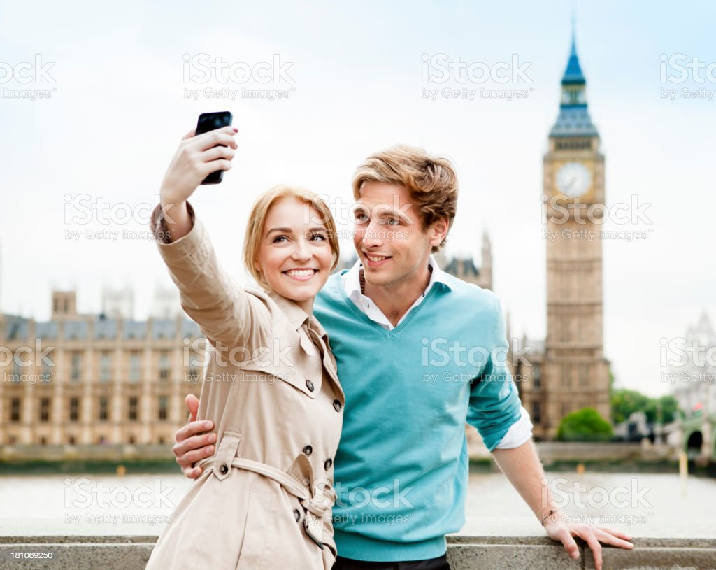 Couple on Vacation in London stock photo