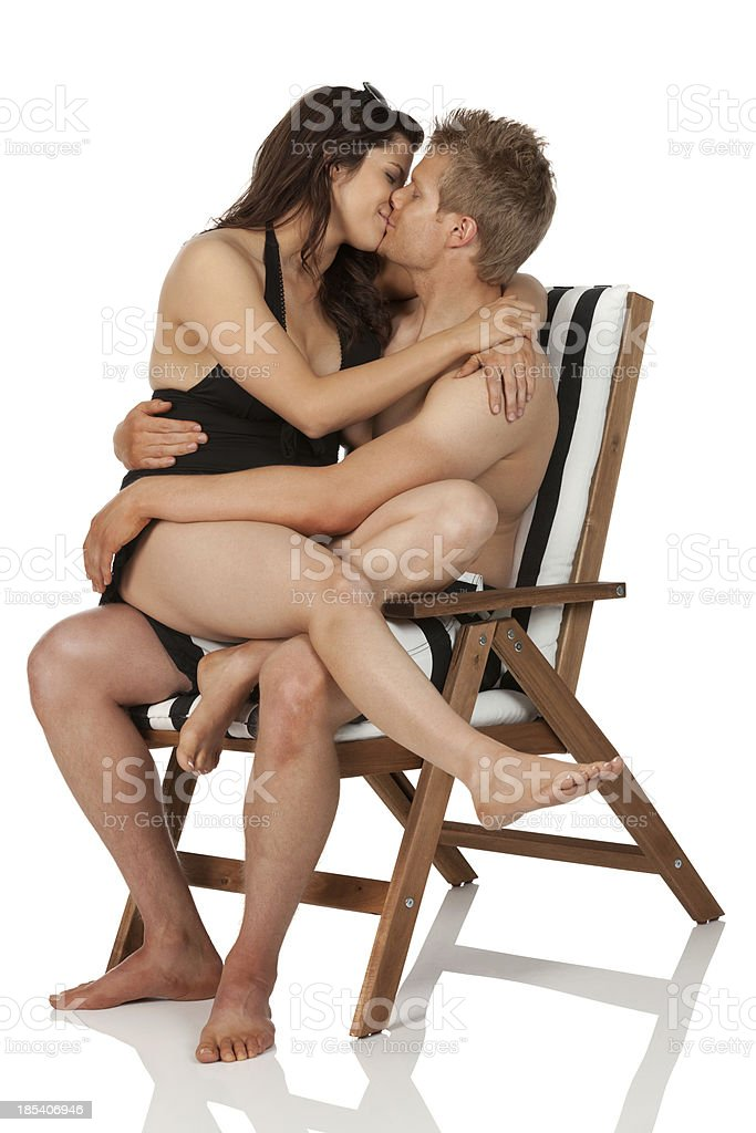 Couple on vacations kissing each other royalty-free stock photo
