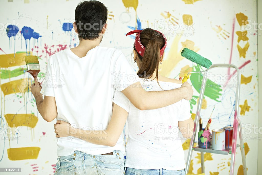 Couple painting together royalty-free stock photo