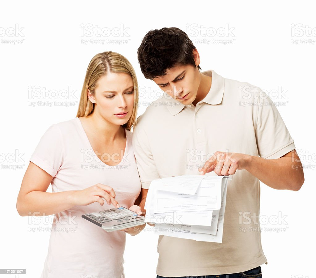 Couple Paying Bills - Isolated royalty-free stock photo