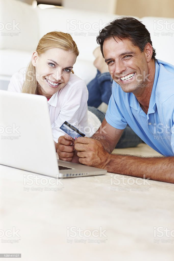 Couple paying their bills online royalty-free stock photo
