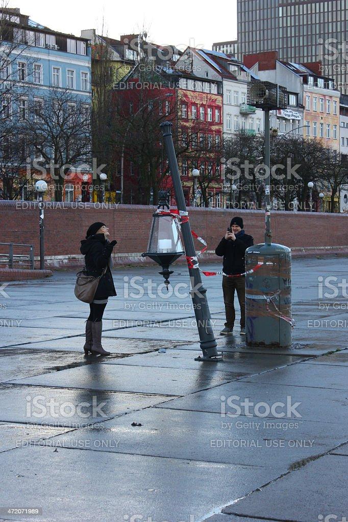 Couple photographing xaver victim stock photo