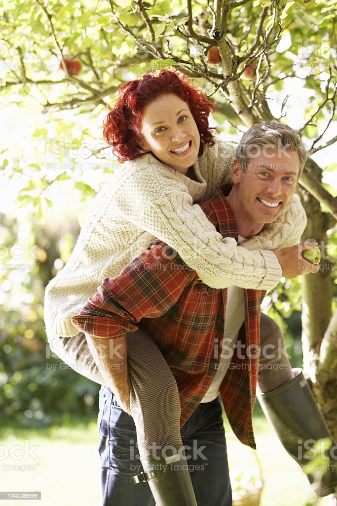 Couple picking apples off tree royalty-free stock photo