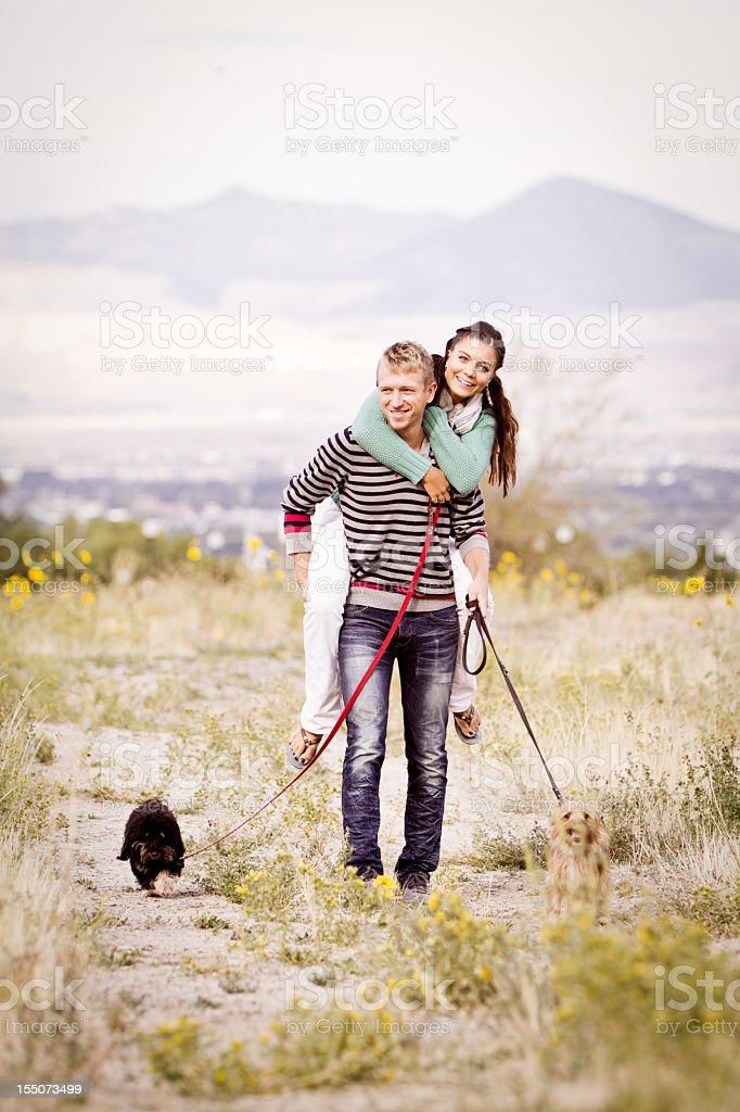 Couple Piggyback royalty-free stock photo