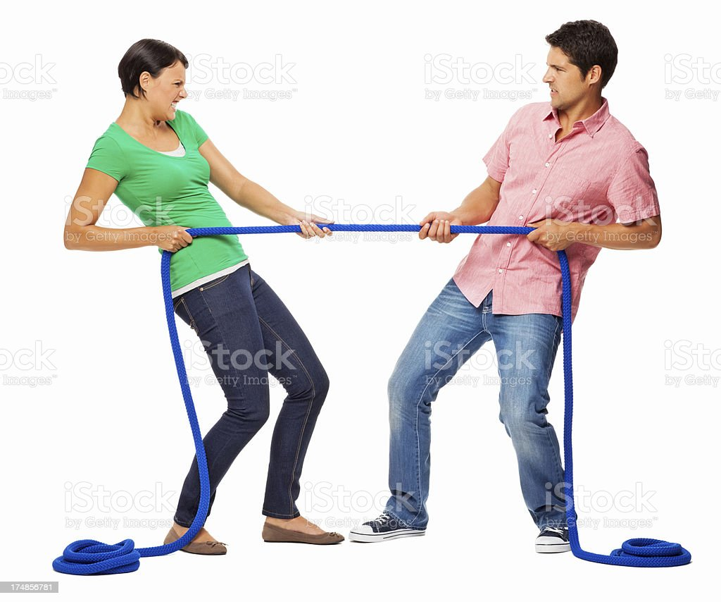 Couple Playing Tug-of-war - Isolated royalty-free stock photo