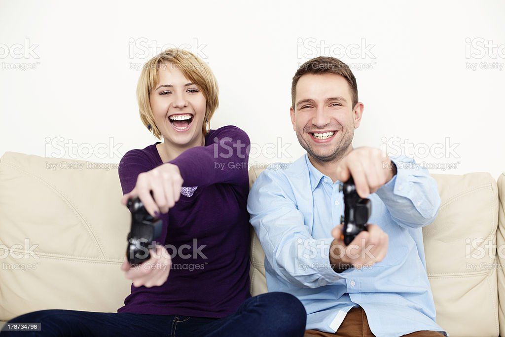 Couple playing video games royalty-free stock photo