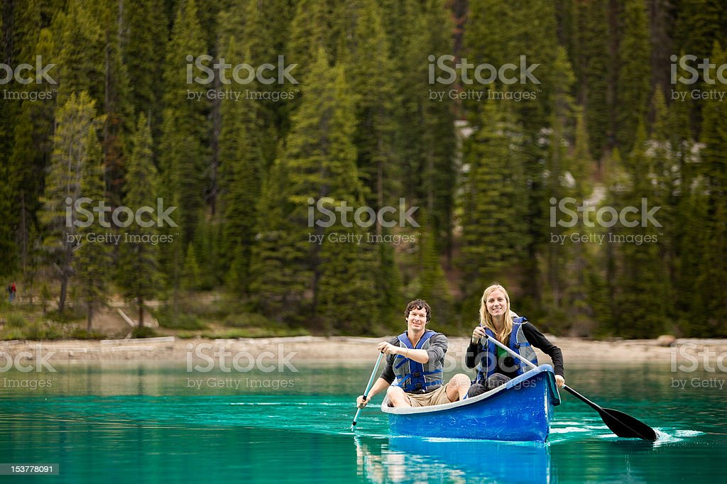 Couple Portrait in Canoe stock photo