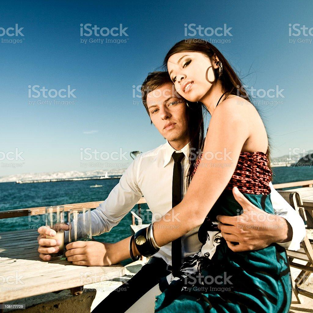 Couple Posing Beside Sea royalty-free stock photo