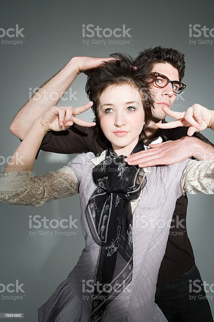 A couple posing stock photo
