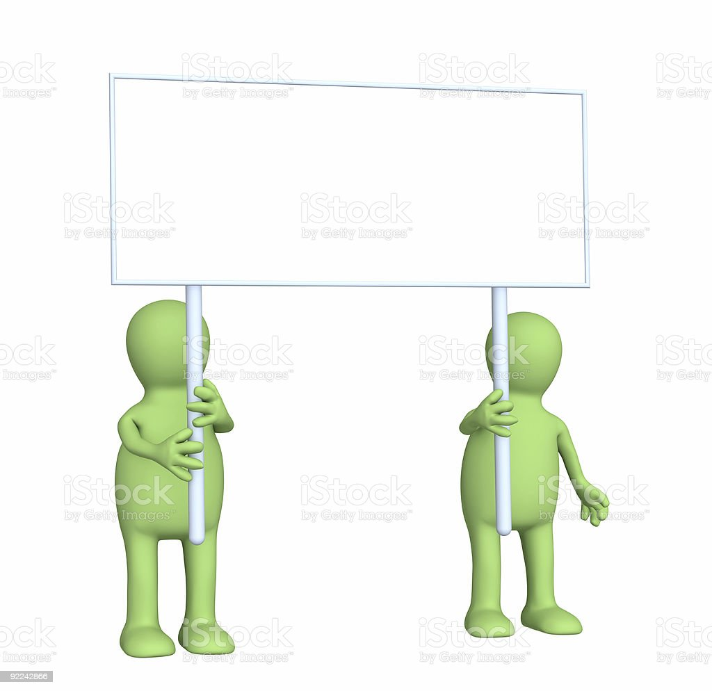 Couple puppets with poster in hands royalty-free stock photo