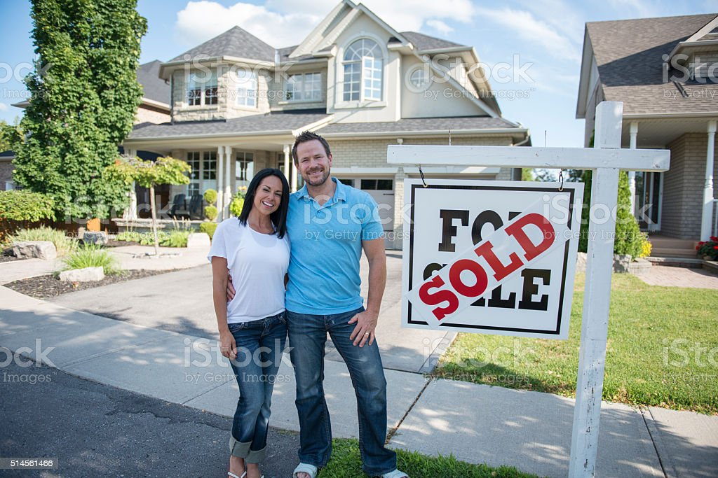 Couple Purchasing Their First Home stock photo